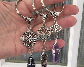 Compass Crystal Keychain/ Tree of Life Charm Keychain/ Lotus Keychain/ Wrapped Crystal Tree Key Chain/ Wrapped Crystals/ Gemstone Key Ring