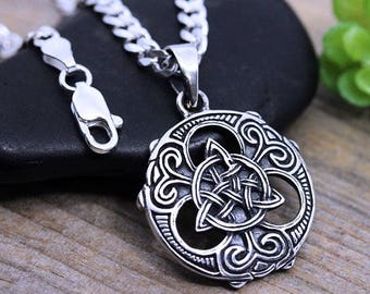 Mens celtic necklace etsy mens trinity necklace unisex sterling silver trinity knot necklace mens irish celtic pendant jewelry mozeypictures Gallery
