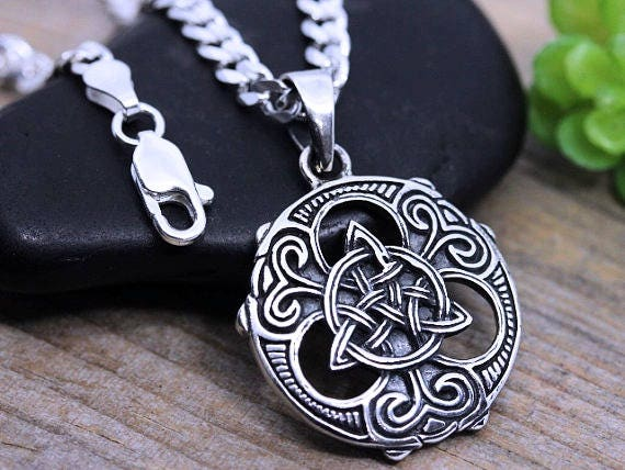 Mens Trinity Necklace Unisex Sterling Silver Trinity Knot