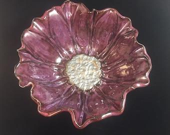Flower Bowl,Purple, Handmade Pottery ceramic art Holiday gift