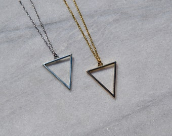 Triangle Pendant Necklace / Geometric Jewelry / Silver Necklace / Gold Necklace