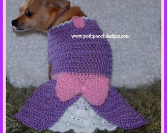 Instant Download Crochet Pattern - Sofia Dog Dress - Small Dog Sweater
