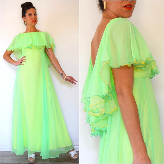Vintage 60s 70s Neon Green and Yellow Chiffon Scoop Back High Low Ruffled Bodice Floor Length Evening Gown (size xs, small)