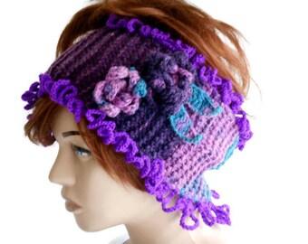 neck warmer scarf, Ear Warmer headband, Neck Warmer knit, crochet Ear Warmer headband, Knit headband, Head Warmer, Purple Neck Warmer