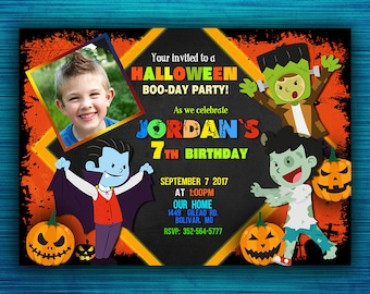 Halloween Party Invitations - Halloween Birthday Party Invitations- Kids Halloween Party - Costume Party Invitation- Boy Invitations