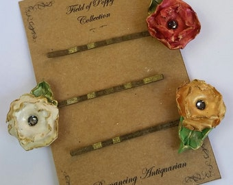 Red/White/Gold Poppy Flower Bobby Pin Variety Set, Handcrafted Floral Hairpins