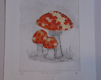 Autumn Leaf Mushroom Etching with Chine Colle