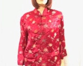 Chinese Silk Jacket, Pink Black Reversible Coat, Beautiful Motif, Front Pockets, Frog Closures, Ladies Silk Jacket, No Tags, Med to Large