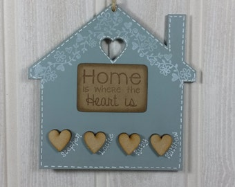 Personalised house shaped family plaque