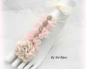 Flats, Foot Jewelry, Pink, Champagne, Bridal, Wedding, Beach, Barefoot Sandals, Crystals, Chiffon, Destination, Elegant, Beach Wedding