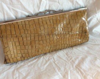 Trashed Vintage Faux Alligator Clutch Handbag
