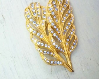 Vintage Double Leaf Brooch, Gold Tone Rhinestone Leaf Pin,        Gift for Gardener, Garden Jewelry, Fall Autumn Brooch