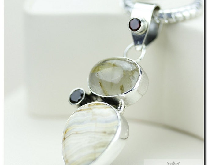 Crazy Lace Agate Rulited Quartz 925 SOLID Sterling Silver Pendant & 4mm Snake Chain + FREE Worldwide Shipping