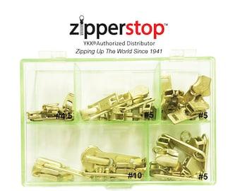 Zipper Repair Kit Solution Metal YKK® Assorted Aluminum Slider Easy Container Storage Sets of Sliders #3, #4.5, #5,  #10 Top - Bottom Stops