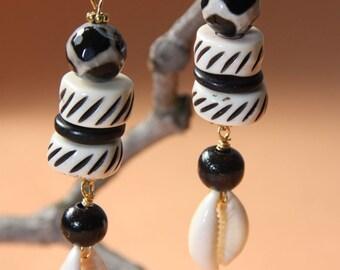 """Cowrie Shell,  Agate stone, dangling drop earrings 3 """"  1/4  L"""