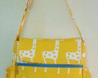Small Messenger Diaper Bag Stripe/Giraffes yellow!!