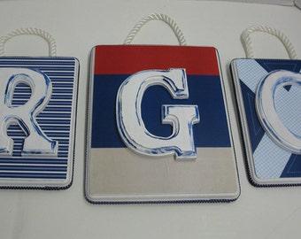 Nautical Regatta 3 Letter Monogram Custom to Match Your Decor