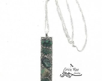 Raw rough emerald gemstone and crushed pyrite rectangle pendant with sterling silver plated wave chain,  boho jewelry