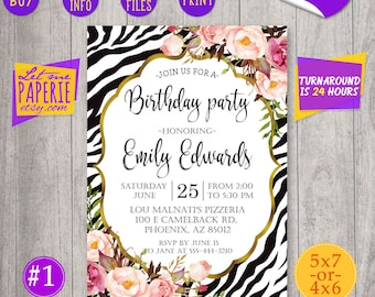 Zebra Birthday Invitation Party Watercolor Flowers Black And Gold