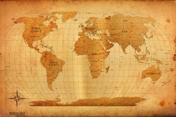 World map vintage style poster print gumiabroncs Choice Image