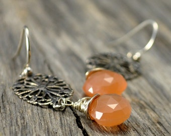 Peach Moonstone Filigree Silver Earrings