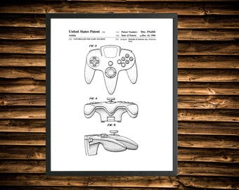 Nintendo N64 Controller Patent Print - Video Games (Multiple Sizes)