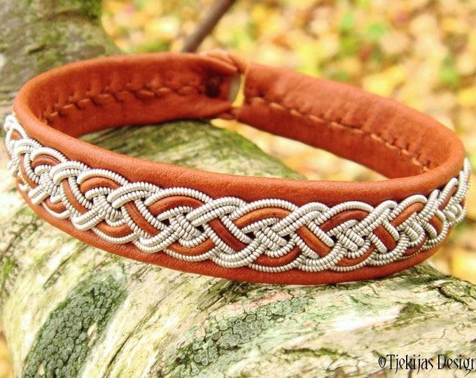 Handmade Scandinavian Sami Bracelet Cuff NIFLHEIM in Cognac Brown Leather with Viking Braid and Antler Closure