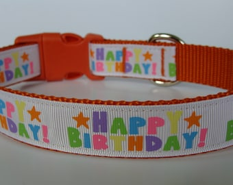 Happy Birthday Party Dog Collar - Orange - Ready to Ship!
