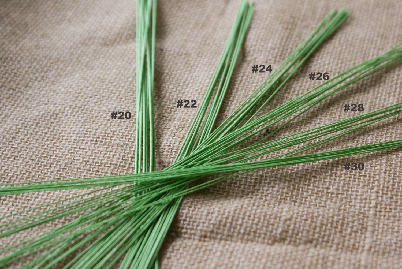 Green Floral Wires - Gauge # 20 - # 22 - # 24 - # 26 - # 28 - # 30 ...