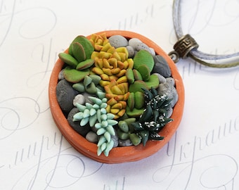 Succulent necklace pendant. Polymer clay Succulent garden necklace. Polymer clay jewelry. Miniature Plant necklace. Succulent plant Jewelry