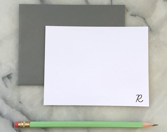 Personalized Letterpress Monogram Note Cards in Learning Curve