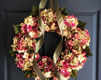 Fall Wreaths | Blended Hydrangea Wreath | Front Door Wreaths | Wreaths | Fall Wreaths | Wreath | Housewarming Gift