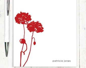 personalized notePAD - POPPIES - stationery - stationary - flower - floral - botanical
