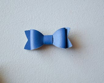 Navy Blue Faux Leather Bow