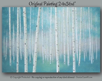 Large wall art, Teal home decor, Birch tree art, Landscape painting - Canvas art print, Teal & gray, Bedroom,Turquoise artwork, Office decor