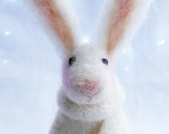 Needle Felted Animal , Needle Felted Rabbit , miniature animal , Home decor ,  Waldorf , Christmas , gift