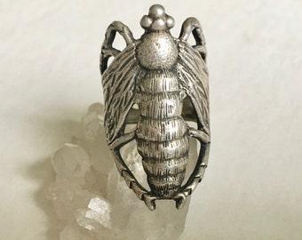 vintage amazing sterling insect ring, large
