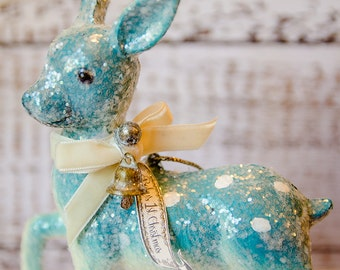 Baby Boy First Vintage Inspired Christmas Ornament  |  Glittery Christmas Decorations  |  Gifts under 25