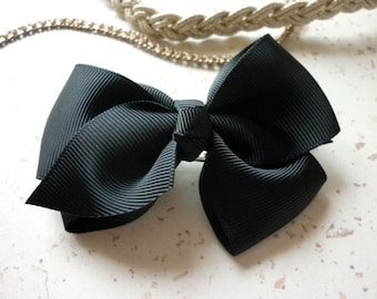 Butterfly Ribbon - 9 cm in length black bow hair clip Barrette (3.54 inches)