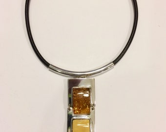 Baltic amber and sterling silver necklace with leather strap