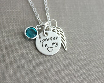 forever in my heart, Sterling silver angel wing necklace with Swarovski Crystal Birthstone, Memorial necklace, Loss Necklace