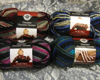 Loops & Threads Charisma Yarn - 4 Skeins - Lakeside, Black Raspberry, Holiday, Northern Lights