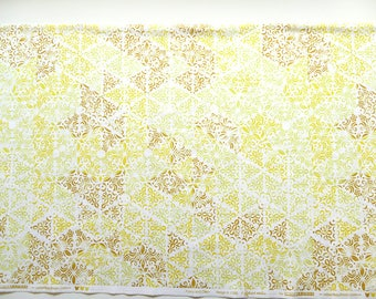 Yellow fabric, woodblock print design fabric, Lucy and Ollie by Vareli Wells, yellow cotton fabric