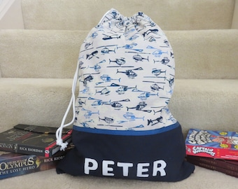 Boys Personalised Library Bag / Book Bag - Helicopter Fabric