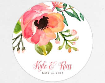 Floral Favor Labels, Floral Favor Tags, Favor Stickers, Wedding Labels, Printed Labels, Stickers, Watercolor, Watercolor Flowers, Pink, Kyle
