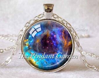 ROSETTE NEBULA Pendant Nebula Necklace Aqua Blue Navy Space Jewelry Science Pendant Galaxy Necklace Astronomy Gift Sci Fi Astronomer Gift
