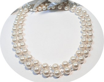Pearl Necklace, Double Strand Pearl Necklace, 2 Strand, Wedding Pearls, Bridal Pearls, Ivory Pearls, Wedding Jewelry Mother of the Bride