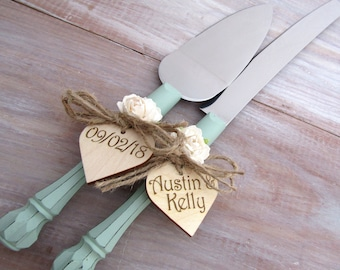 Rustic Chic Wedding Cake Server Knife Set Sage Green with White Flower Personalized Wood Hearts Bridal Shower Gift Wedding Gift