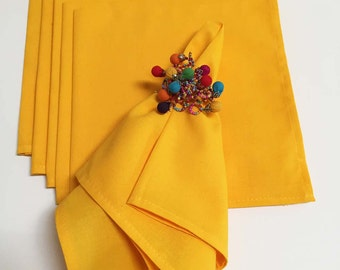 French Country Napkins, Yellow Cloth Napkins