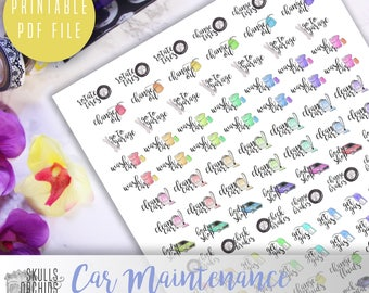 Functional Phrases for Car Maintenance – PRINTABLE Planner Stickers for Erin Condren, Happy Planner, Personal-Sized Planners, etc